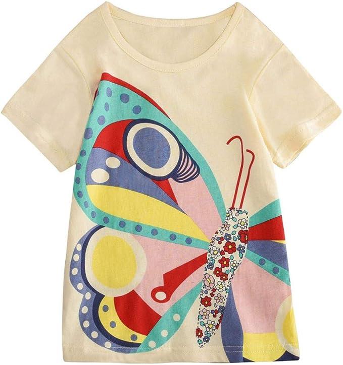 Mitlfuny Niños Camisetas de Manga Corta Verano Ropa Pascua Dibujos Animados Conejo Estampado Casual Camisas Cuello Redondo Blusas de Algodón para Bebé Niña Niño Tops 2-8 Años: Amazon.es: Ropa y accesorios