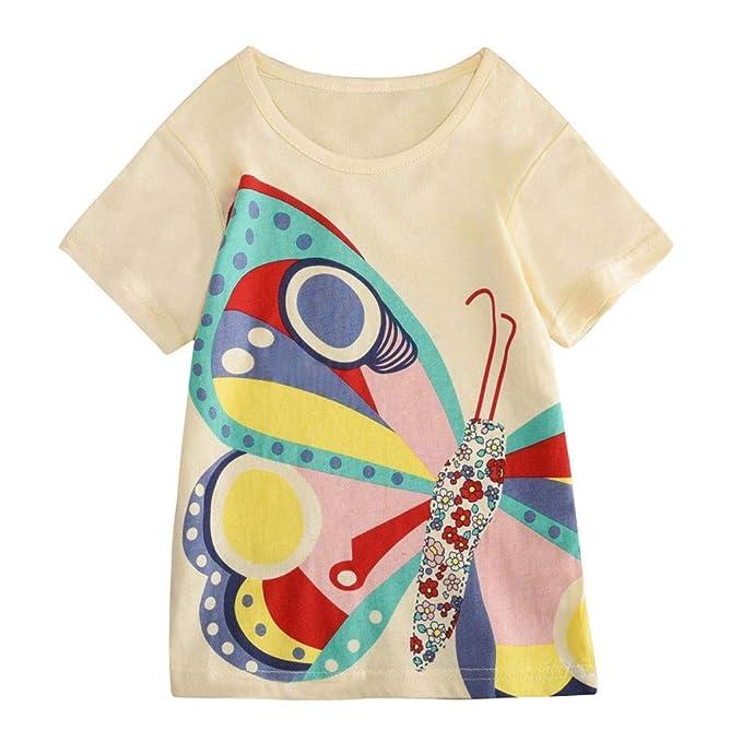 Mitlfuny Niños Camisetas de Manga Corta Verano Ropa Pascua Dibujos Animados Conejo Estampado Casual Camisas Cuello