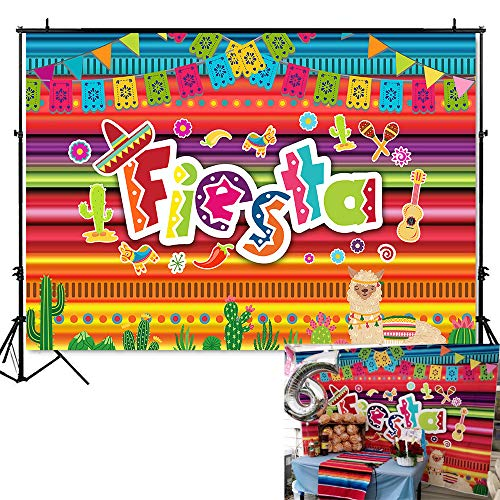 Mehofoto Mexico Fiesta Backdrop Fiesta Themed Dress-up Photography Background 7x5ft Vinyl Luau Event Supplies Mexican Birthday Party Banner Decoration -