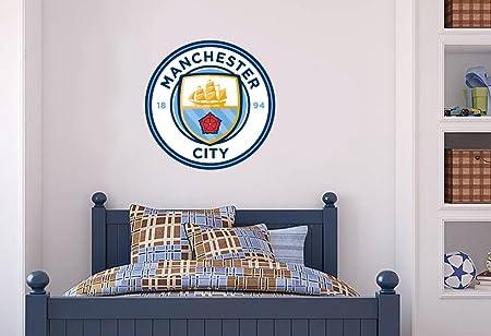 Manchester city official crest set wall sticker mcfc decal football vinyl poster print 60