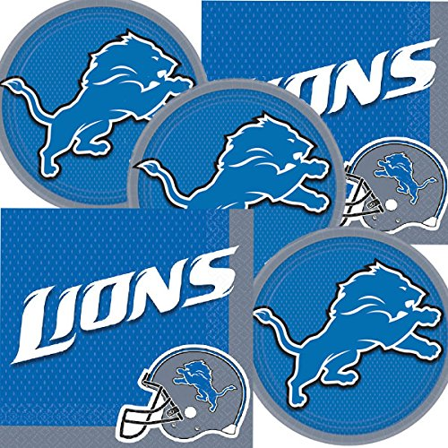 Detroit Lions NFL Football Team Logo Plates And Napkins Serves 16