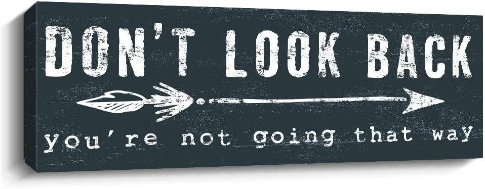 Pigort Inspirational Wall Art - Don't Look Back - Quote & Saying Art Painting, Motto Print Canvas Picture,Motivational Wall Art for Office or Living Room Home Decor (Blue)