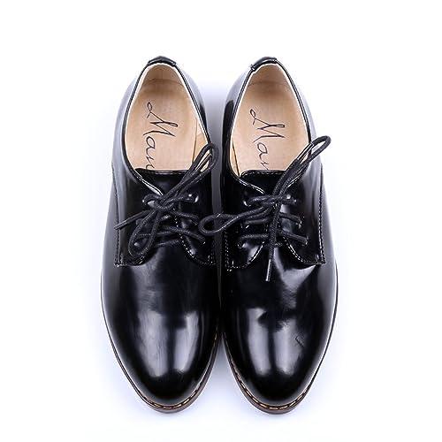 ce562f0f1b Amazon.com | Women's Oxford Patent Faux Leather Dress Shoes (U5.5(36 ...
