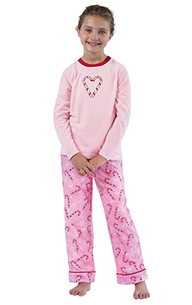 dbb002b582 PajamaGram Candy Cane and Snowflake Long-Sleeved Big Girls Pajamas Set