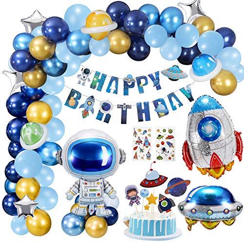 Gafild Globos Cumpleanos Decoracion, Decoraciones de Fiesta tematicas del Espacio Exterior, Astronauta Cohete Globos Foil y Happy Birthday Pancarta Astronauta Globos Latex
