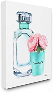 The Stupell Home Décor Collection Teal Blue Perfume Bottle and Pink Peonies Stretched Canvas Wall Art, Multi-Color, 16 x 20, Gallery Wrapped Canvas