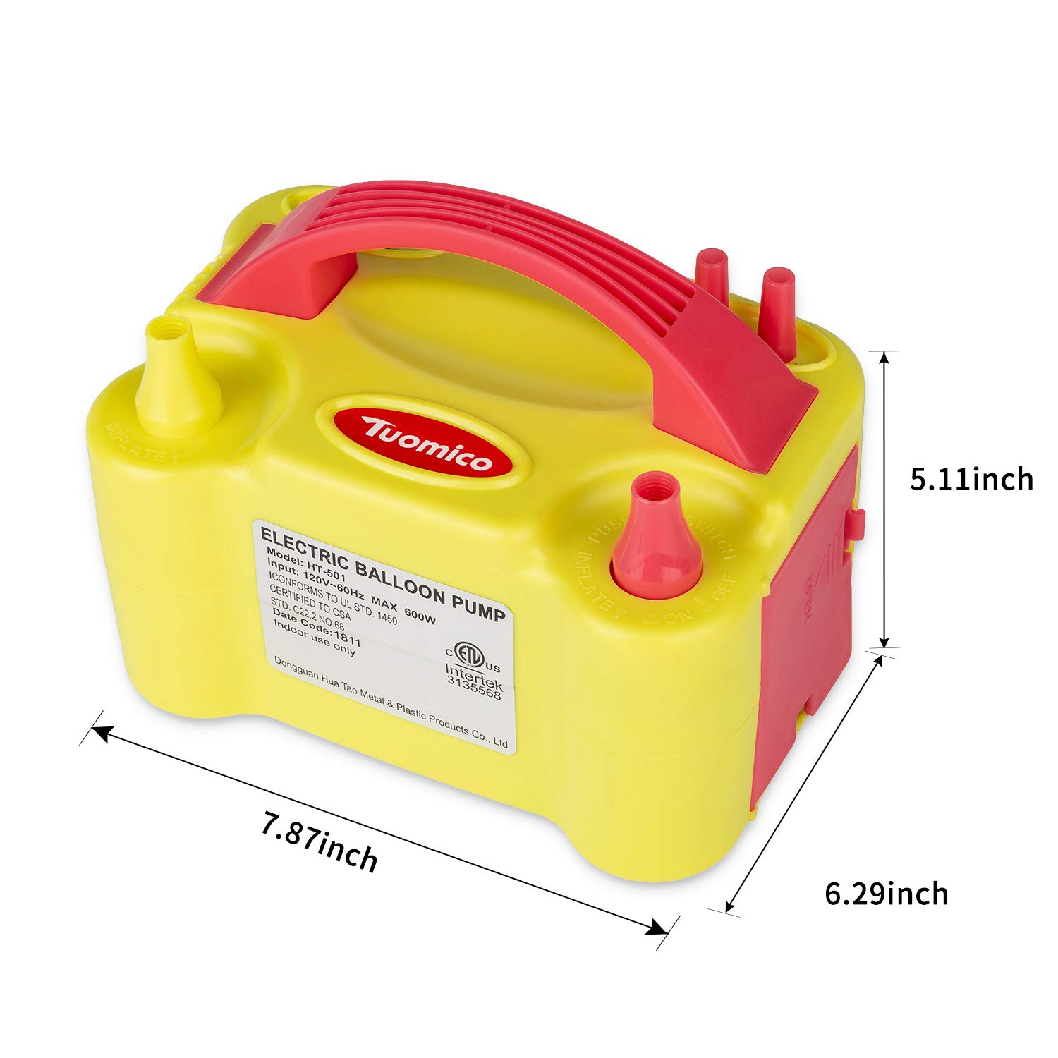 Tuomico Portable Dual Nozzle 110V 600W Electric Air Balloon Blower Pump Electric Balloon Inflator For Decoration Wedding Party