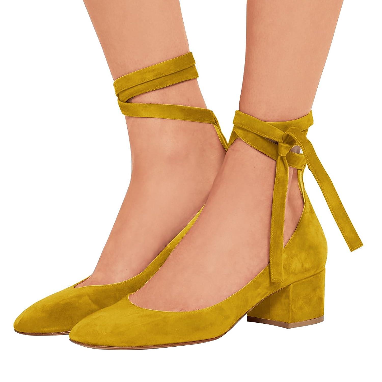 225c67fef1b FSJ Women Retro Round Toe Pumps Chunky Low Heels Lace Up Comfortable  Walking Shoes Size 4-15 US