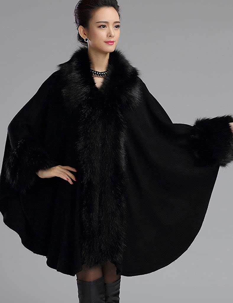 1920s Style Shawls, Wraps, Scarves Aphratti Womens Wool Scarf Shawl Cape Coat With Luxury Faux Fox Fur Collar $74.99 AT vintagedancer.com
