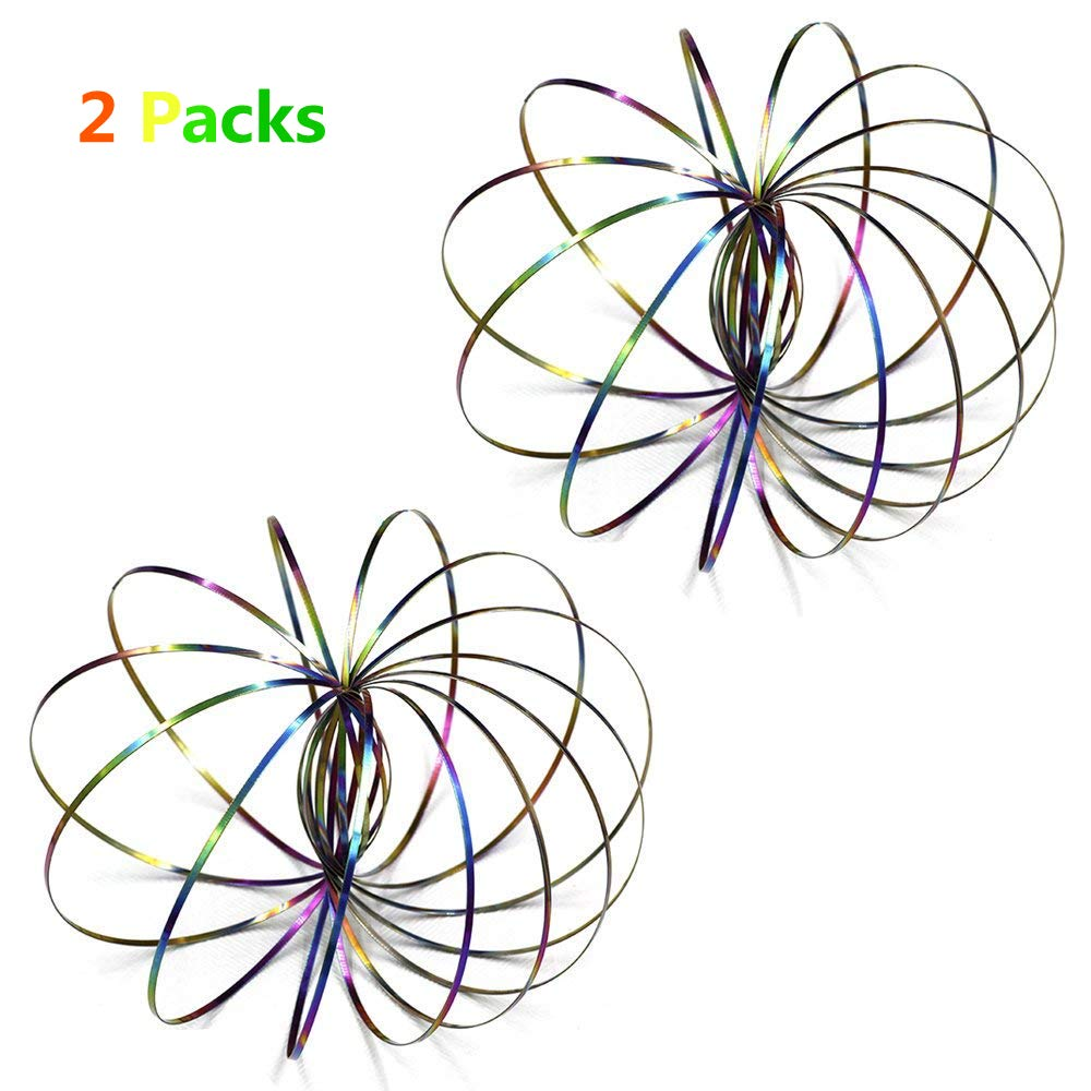2 Pack Flow Rings Kinetic Spring Toy - Multi Sensory Interactive 3D Shaped Stainless Steel Rainbow Magical Ring Toy for Kids MEKOO