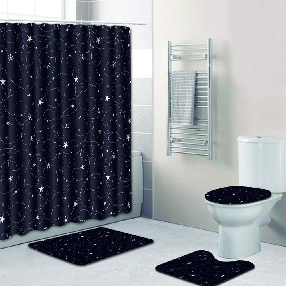 Chlove 4 Pcs Anti Slip Bathroom Rugs Set Pedestal Rug + Lid Toilet Cover + Bath Mat And Waterproof Shower Curtains Home Decor,Starry Sky&Black Silver Circle