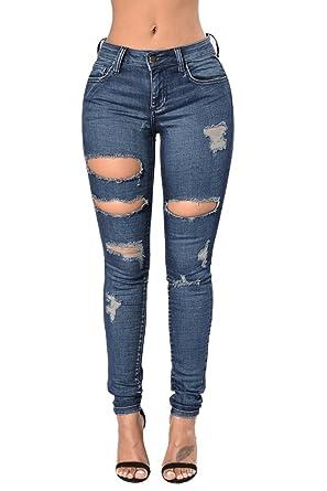 Zojuyozio Riss Loch Skinny Jeans Passen Frauen Enge Jeans Hose