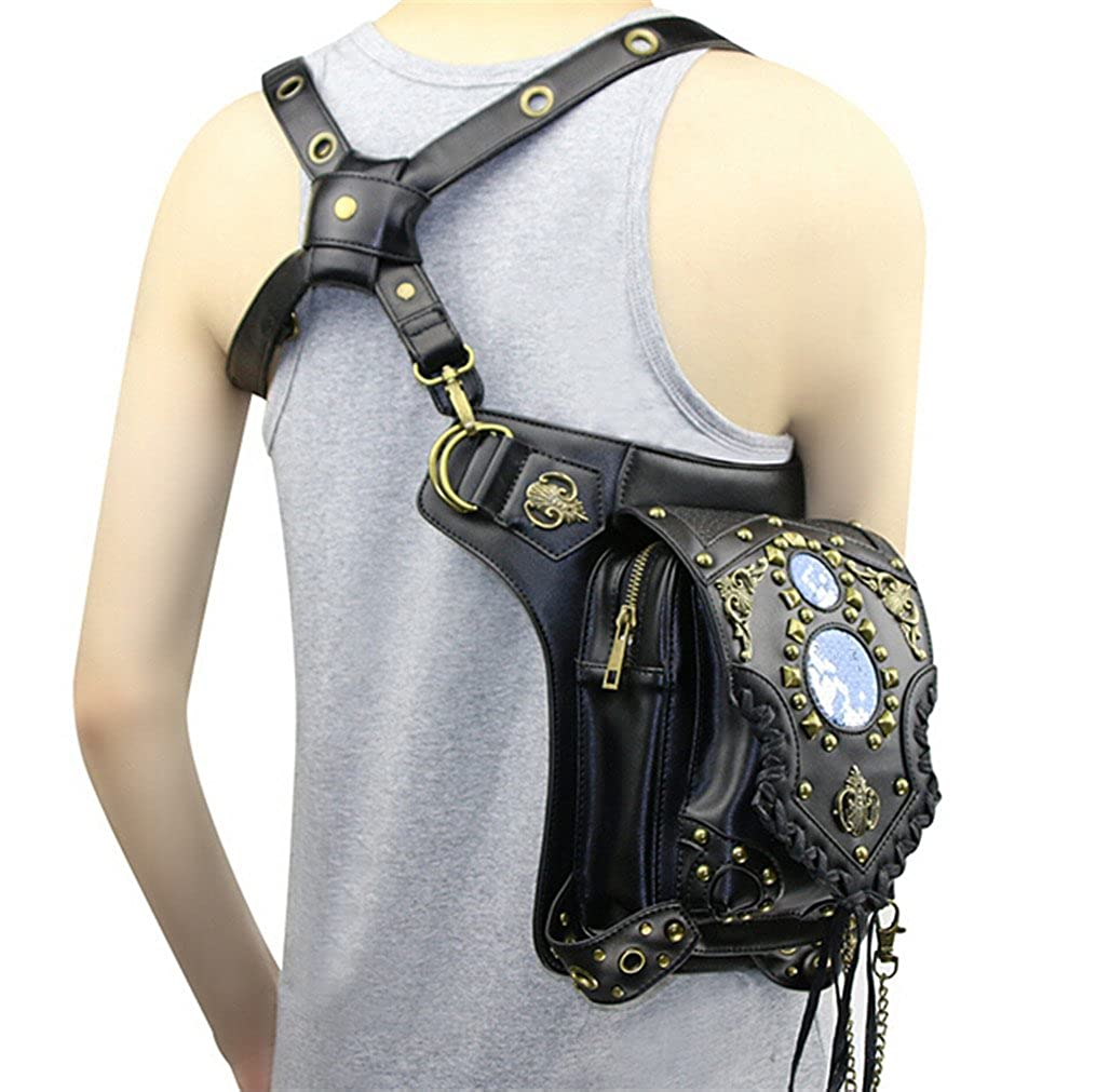 MIRUIKE Waist Pack Steampunk PU Leather Handbag Retro Leg Bag Black Detachable