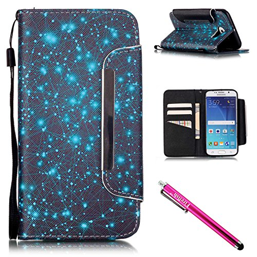 Price comparison product image Galaxy S6 Case, Galaxy S6 Wallet Case, Firefish [Kickstand] [Shock Absorbent] Double Protective Case Flip Folio Slim Magnetic Cover with Wrist Strap for Samsung Galaxy S6-Starry