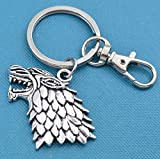 Game of Thrones key chain with silver toned metal wolf on stainless steel key ring and snap hook. Wolf. Game of Thrones.