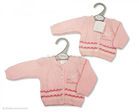 39b393a3d297 Tiny Baby Little Sweetheart Cardigan in Pink. Knitted Baby Girl ...