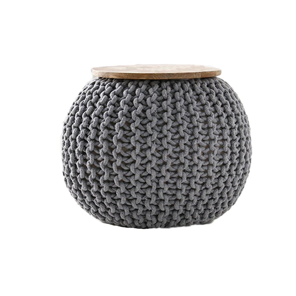 CNC Washable Cover Knit Pouf With Wooden Top Table, Home Decoration, Side Table