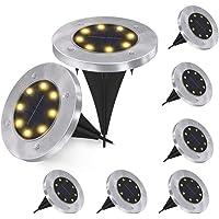 Solcell markbelysning, 8 LED solcellsträdgårdsbelysning vattentäta utomhus trädgård disk lampor för trädgård altan…