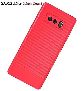 ZSCHAO Funda Galaxy Note 8 Fibra de Carbono Slim Fina Silicona TPU antigolpes +Cristal Templado Carcasa Carcasa Funda Galaxy Note8 Ultrafina Libro ...