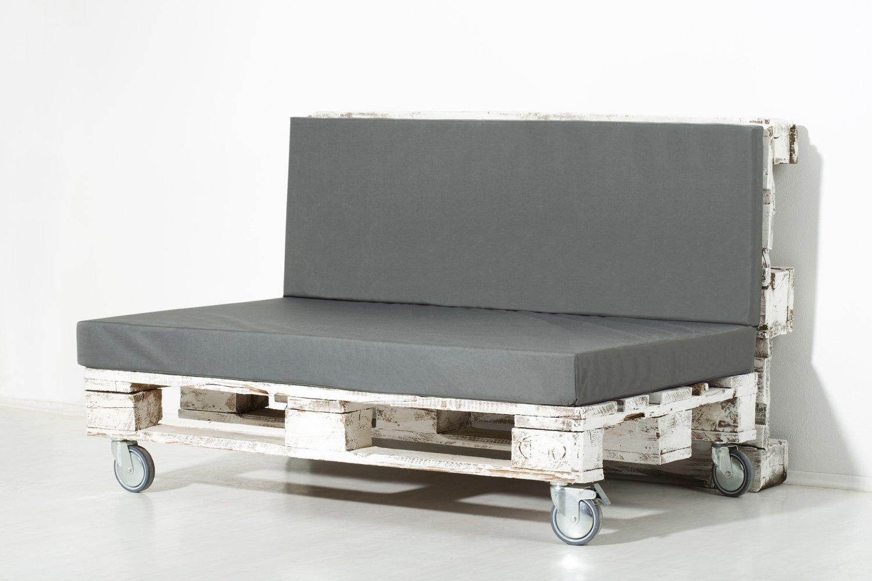 Palemare Palettenkissen Palettenpolster RG50 Nylon 120x80x10cm (Set: Sitzkissen + Rückenlehne) Indoor Outdoor Bezug Grau waschbar