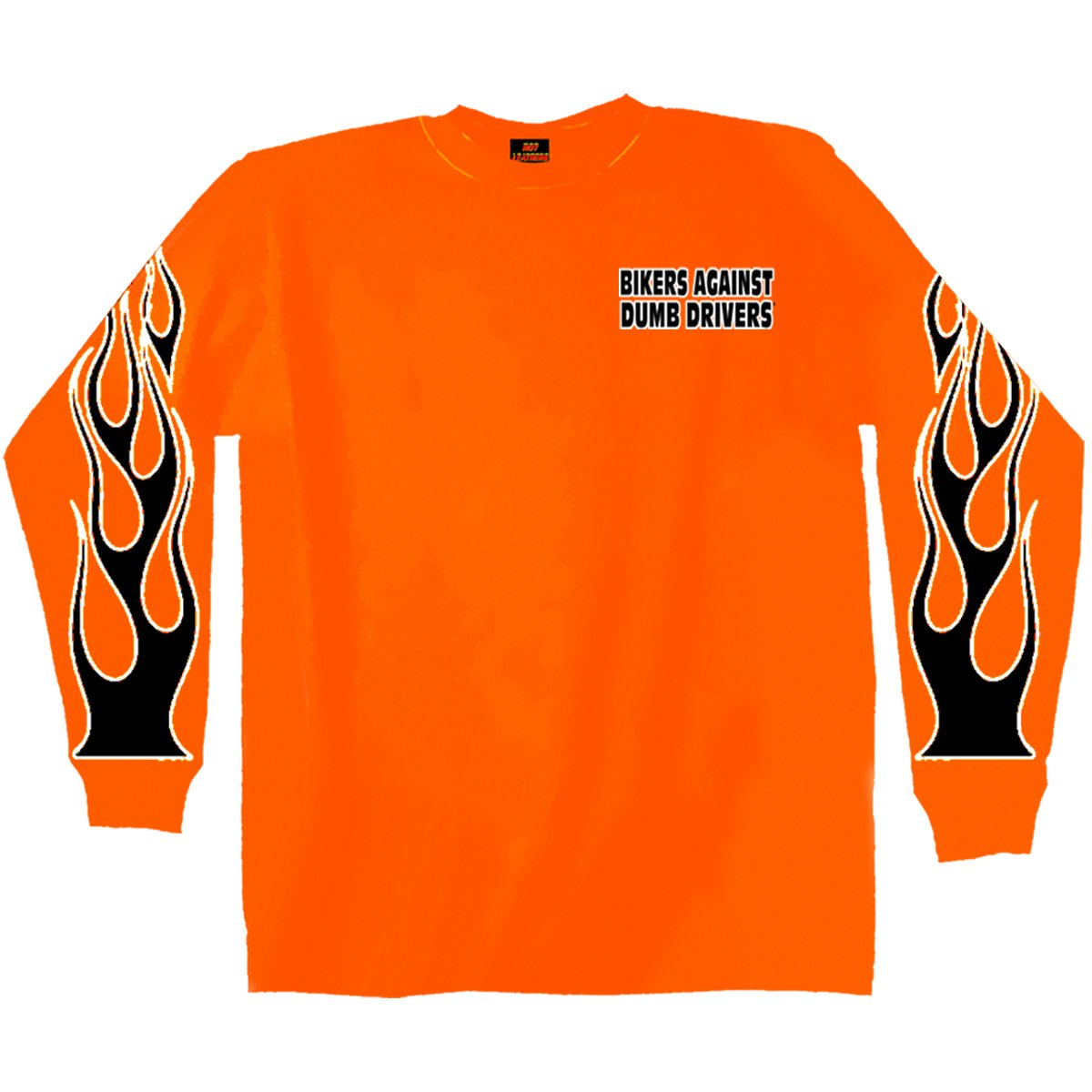 Hot Leathers Bikers Against Dumb Drivers Long Sleeve T-Shirt Safety Orange, XXX-Large