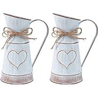 DOITOOL Vaso rústico chique com 2 peças, vaso de metal vintage, jarro de leite, jarra decorativa, vaso de flores…