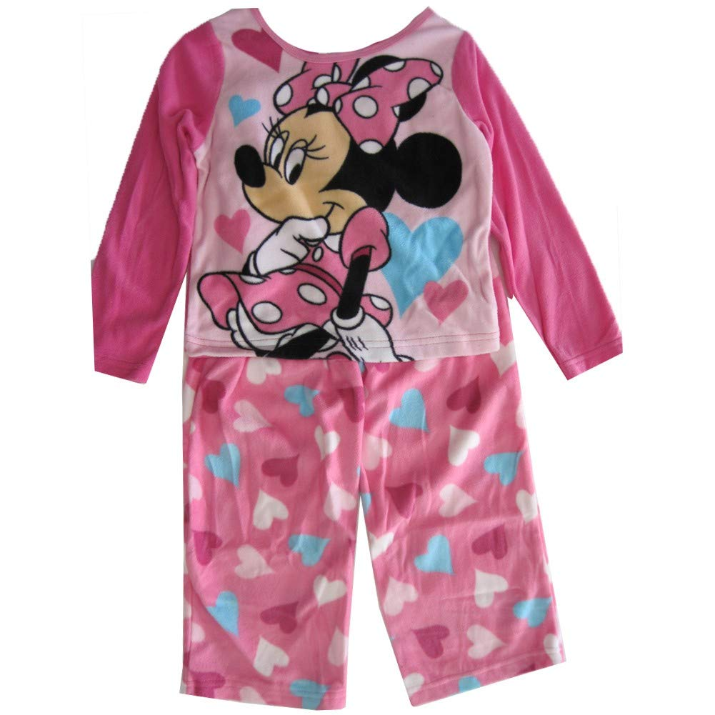 Disney Little Girls Pink Minnie Mouse Heart Patterned 2 Pc Pajama Set 2T-4T