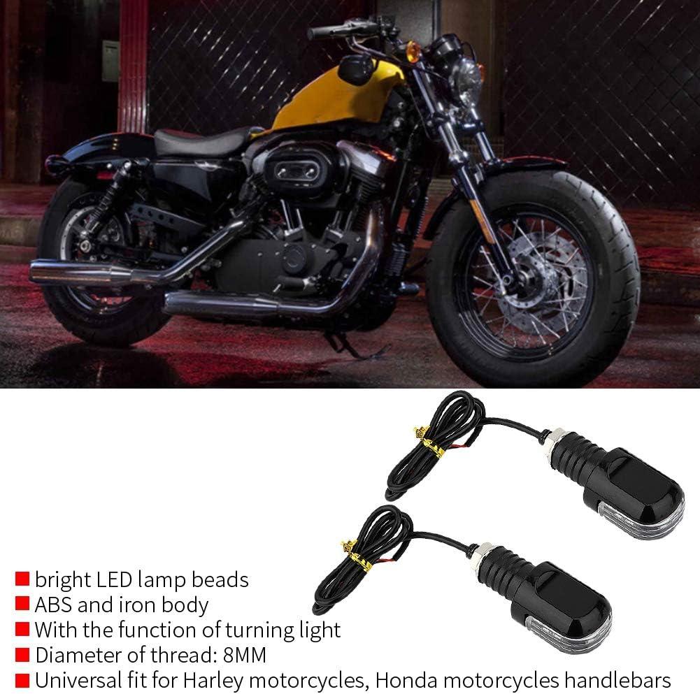 Jaune Aramox Guidon clignotant moto LED LED Clignotant Grip Bar End Plug Guidon Lumi/ère Blanc