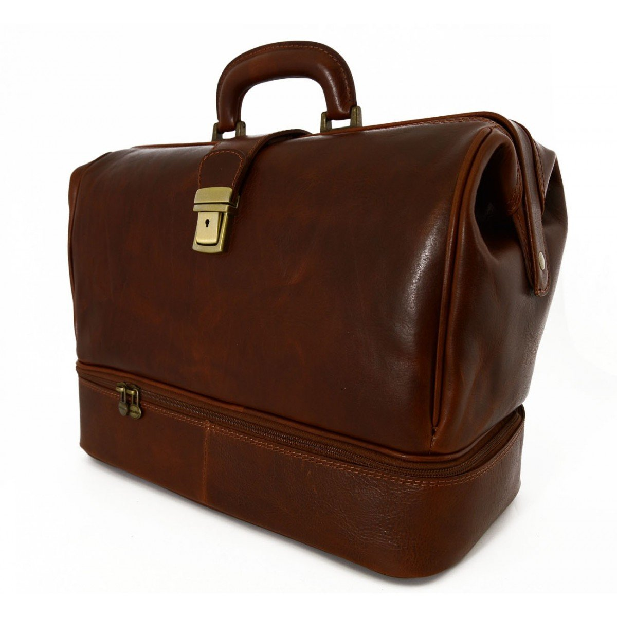 Made In Italy Genuine Leather Medical Bag, Double Bottom Color Brown - Business Bag B014T6GIDI