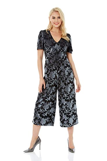 d4615fbd9991 Roman Originals Women Velvet Burnout Jumpsuit - Ladies Christmas Party  Going Out Evening Floral V-Neck Short Sleeve Culotte Trouser All in One  Jumpsuits