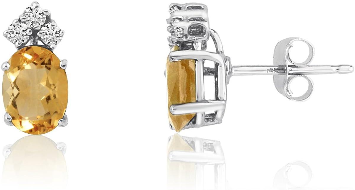 14K Oro Blanco Ovalado citrino pendientes con diamantes