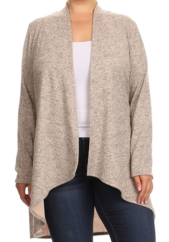 CurvyLuv Women's Plus Size Open Front High Low Cardigan Long Sleeve Sweater V464