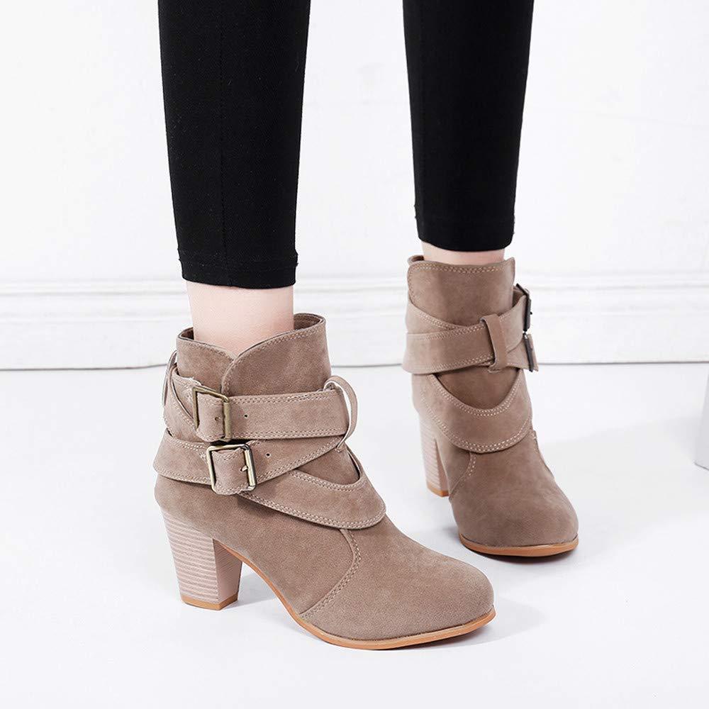 JiaMeng Zapatillas Moda Botines Botas Militares Altas Mujer Zapatos Casuales de la Correa de la Hebilla Botas Martain Botas de Gamuza Botas de tacón Alto: ...