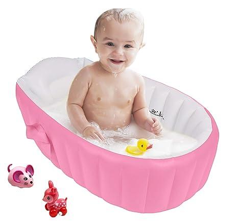 Gonflable Douche De Voyage Pliable Baignoire Pour Bébé Enfants Nouveau Nés Rose