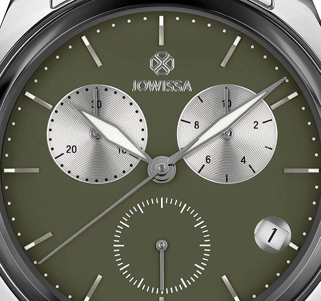 0d2ad66c53bb Jowissa Lux Reloj Hombre Cronógrafo Caja Acero 40mm Esfera Verde Brazalete  Acero  Amazon.es  Relojes