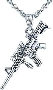 Yumilok Collares Mujer Hombre Moda Collares Pistola Rifle M416 de S925 Plata Colgante con Cadena, PlayerUnknown's BattleGrounds