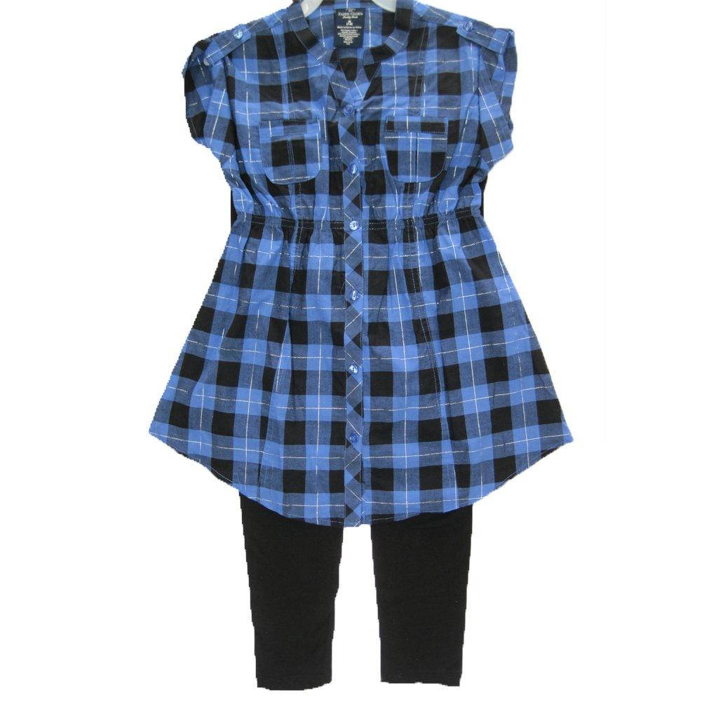 Faded Glory Big Girls Blue Black Plaid Button 2 Pc Pants Set 7-16 ABC Brand Name Inc.
