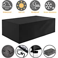Tvird Garden Furniture Cover, Outdoor Furniture Covers, Patio Furniture Covers WaterproofRectangularWindproof and Anti-UV Garden Table Covers 242 x 162 x 100 cm(Black)