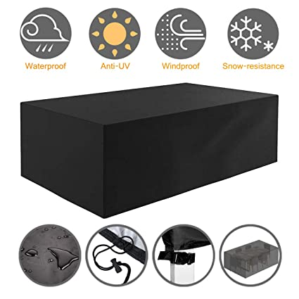Astounding Tvird Garden Furniture Cover Outdoor Furniture Covers Heavy Duty 420D Oxford Fabric Patio Furniture Covers Waterproof Rectangular Windproof And Home Interior And Landscaping Ologienasavecom