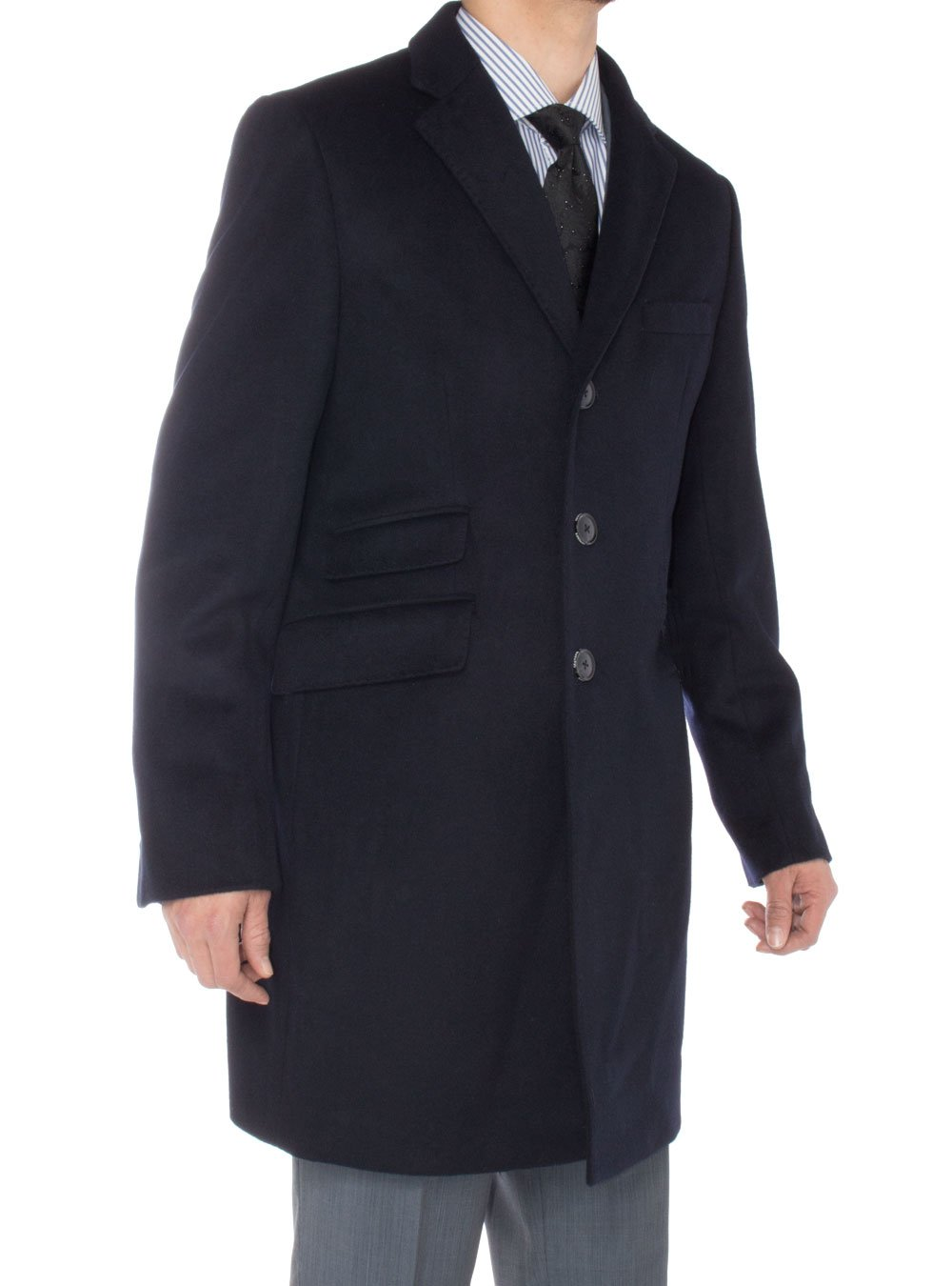Luciano Natazzi Men's Cashmere Topcoat Modern Ticket Pocket Trench Coat Overcoat (48 US - 58 EU, Navy Blue) by Luciano Natazzi (Image #3)