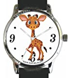 """Save Our Wildlife"" Large Polished Chrome Watch with Black Strap has a ""Giraffe"" image and Donation to African Wildlife Foundation"