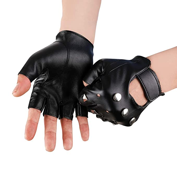 Mens Hip-Hop Gloves with Zip Fingerless Faux Leather Gloves Biker Steampunk Cosplay Driving Cycling Gloves