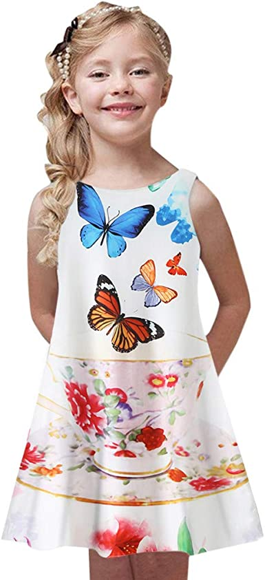 K-youth Ropa para Niña 4 a 9 años, Vestido Playa Niña Verano Bohemia Vestidos Sin Mangas con Estampado de Chicas Ropa Niña Vestido para Niñas Ropa Niña Fiesta Casual: Amazon.es: Ropa y
