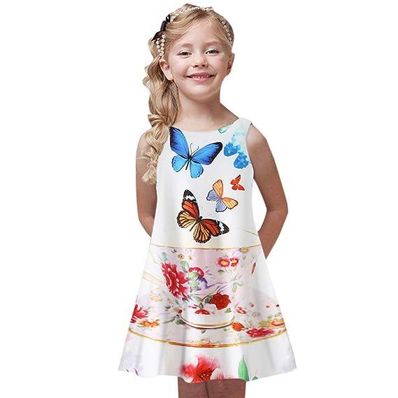 K-youth Ropa para Niña 4 a 9 años, Vestido Playa Niña Verano Bohemia Vestidos Sin Mangas con Estampado de Chicas Ropa Niña Vestido para Niñas Ropa ...