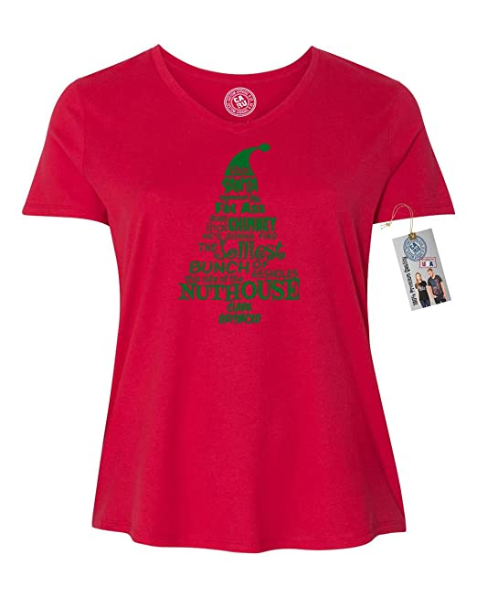 451c6997d5f Amazon.com  Custom Apparel R Us Christmas Vacation Nuthouse Plus Size Women  V Neck T-Shirt  Clothing