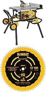 DEWALT (DWE7491RS) 10-Inch Table Saw, 32-1/2-Inch Rip Capacity + DEWALT DW3219PT 10-Inch 80T Fine Crosscutting Saw Blade