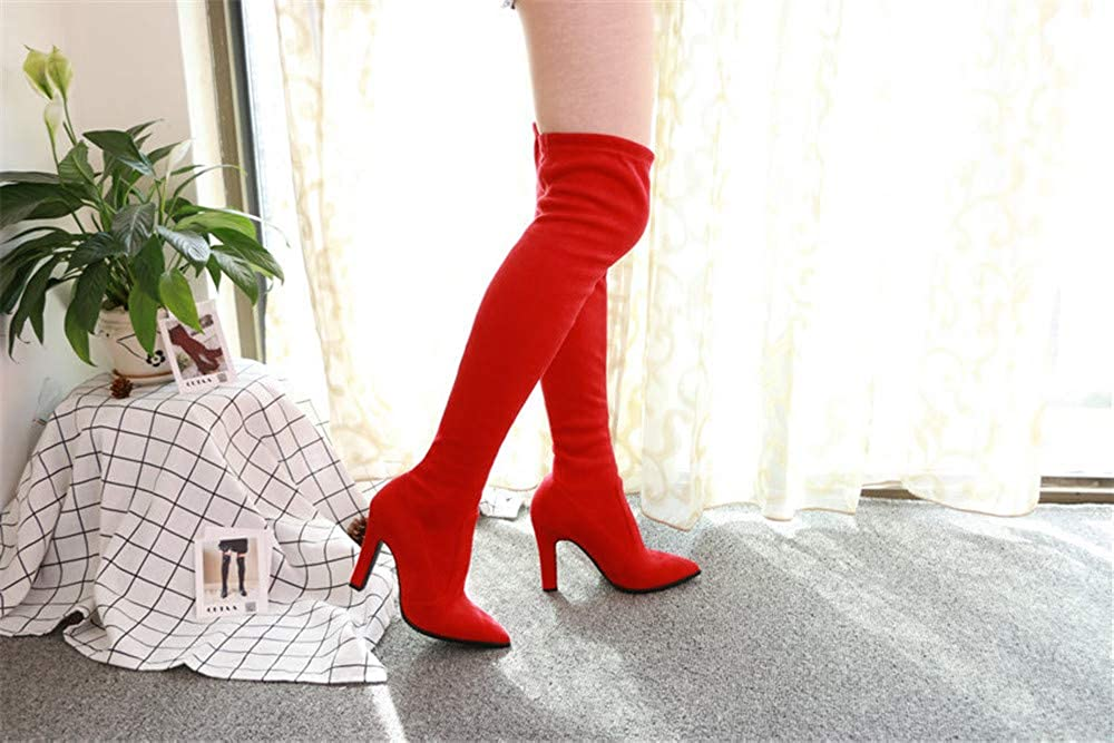Newstarshop 2019 Women Over The Knee High Boots Winter Thin High Heel Boots Size 34-43