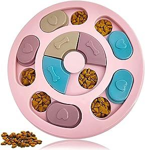 Dog Puzzle Toys, Dog Food Puzzle Feeder, Pet Puzzle Training Hidden Food Snack Carousel Toys, Slow Feeder, Interactive Dog Toys (Round Shape)