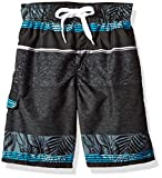 Kanu Surf Little Boys' Fusion Stripe Quick Dry Beach Board Shorts Swim Trunk, Black, Medium (5/6)