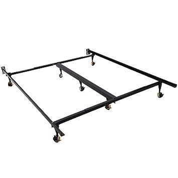 homcom 7 leg adjustable metal bed frame w rollers fits queen king - Black Metal Bed Frame Queen